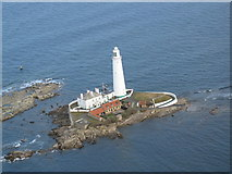 NZ3575 : Aerial photo of St Mary's Island at high tide by Neil Reed