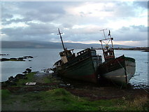NM5643 : Decaying wrecks West of Salen, Mull by Peter Evans