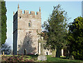 SO5689 : Holy Trinity Church Tower, Holdgate, Shropshire by Roger  Kidd