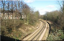 TQ2567 : St Helier: Railway line to Morden South by Nigel Cox