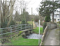 SH3537 : Bridges over Afon Rhyd-hir in the village of Llannor by Eric Jones