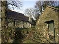 SN1343 : Eglwys Wythwr, chimney and bier house by ceridwen