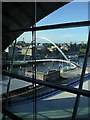 NZ2563 : Millennium Footbridge from inside the Sage Centre by Rod Allday