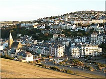 """SS5247 : Ilfracombe East with St James and St Philip's church to the left and """"The Comp"""" on top of the hill by Roger A Smith"""