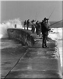 NJ2370 : Spinning for seatrout on the breakwater by the mouth of the Lossie by Des Colhoun