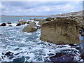SY6872 : Tar Rocks, Portland at low tide by Nigel Mykura