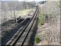 NN9162 : Perth - Inverness railway crosses Allt Girnaig by Russel Wills
