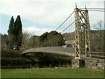 SH7956 : The suspension bridge over the Afon Conwy by John Fielding