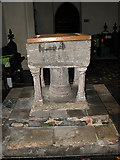 TG1022 : St Mary's church - baptismal font by Evelyn Simak