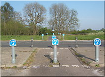 TM1154 : Cycleway crossing the A140 dual carriageway by Andrew Hill
