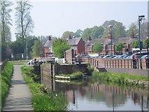 SJ2207 : Canal Lock by Morrison's car park. by John Firth