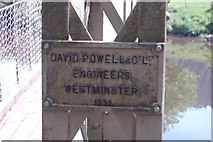 SH7956 : Builder's plaque on suspension bridge. by John Firth
