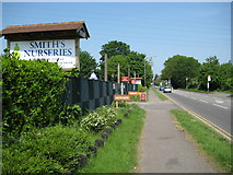 TQ0485 : New Denham: Smith's Nurseries and the A4020 Oxford Road by Nigel Cox
