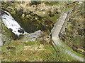SN8686 : River Severn,Wooden footbridge,Break-its-neck-falls by kevin skidmore