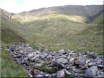 NT1514 : Looking up Games Gill on the left and Firthhope Burn on the Right by Iain Lees