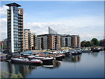 TQ3880 : View of Blackwall Basin Barges and Flats by Ian Paterson
