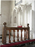 TF9434 : St Mary's church - carved communion rails by Evelyn Simak