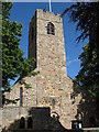 NY9864 : The tower of St Andrew's Church - west side by Mike Quinn