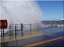 SD3036 : A rough sea on Blackpool Promenade by Dr Neil Clifton