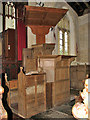 TF9521 : St Bartholomew's church - pulpit by Evelyn Simak
