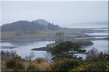 NM9247 : Castle Stalker and coastal inlets in the mist by Chris Burrell