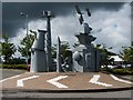 SJ6909 : Steel Sculpture in Retail Park by Mike White