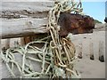 TA4011 : Tangled net and groyne at Spurn Point by Wendy North