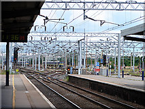 SP8633 : Looking north from Bletchley Station by John Lucas