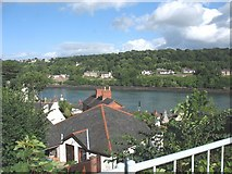 SH5571 : A  roofscape viewed from the Anglesey end of Pont-y-Borth bridge by Eric Jones