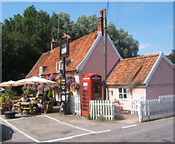 TM2743 : Colourful summery scene at the Fox Inn, Newbourne by Andrew Hill