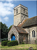 TG0524 : St Andrew's church - porch and tower by Evelyn Simak