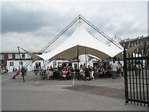SU6200 : Picnic canopy opposite HMS Victory by Basher Eyre