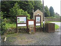 NY9650 : Noticeboard in Blanchland Car Park by Oliver Dixon