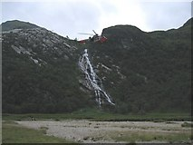 NN1868 : Royal Navy helicopter over Steall waterfall by Pip Rolls