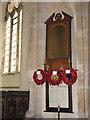 TG3912 : St Margaret's church - war memorial by Evelyn Simak
