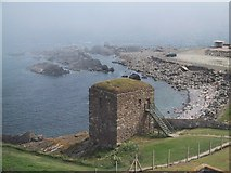 NJ9967 : The Haar Drifts in across the Wine Tower by Sarah Charlesworth