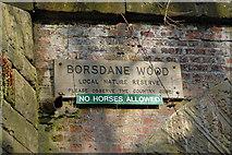 SD6205 : Borsdane Wood Sign by Dave Green