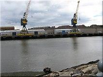 NZ4057 : River Wear dock cranes by trevor willis