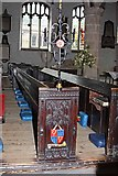 SD5192 : Holy Trinity Church, Kendal, Cumbria - Sword rest and pew by John Salmon