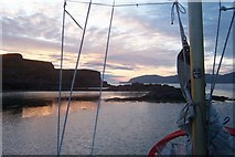 NM3541 : Sunset over Acairseid Mhor by J P Simpson