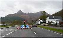 NN0958 : A82 approaching Glencoe village from the west by Jonathan Billinger