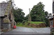 NY3704 : St Mary, Ambleside, Cumbria - Porch & memorial by John Salmon