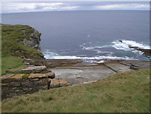 HY2328 : Cliffs and sea at brough of Birsay lighthouse by Nick Mutton