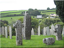SX1867 : Ancient crosses in St Neot churchyard by Rod Allday