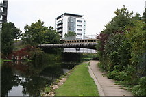 TQ3783 : Lee Navigation:  Pipe bridge and Northern Outfall Sewer by Dr Neil Clifton
