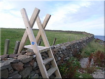 HU1857 : Stile at Melby for the coastal path by Nicholas Mutton