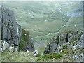 SH6963 : Looking down the cliff into Cwm Eigiau by Ian Greig