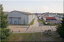 SU3613 : Warehouse and depot south of Totton Bypass by Peter Facey
