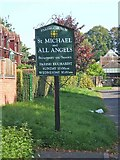 SO8171 : St. Michael & All Angels Parish Church sign, Church Drive by P L Chadwick