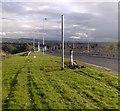 NT0567 : Broken lamppost / streetlight collision on A899 Livingston Road by Simon Johnston